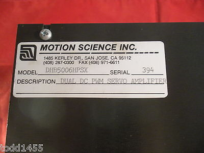 Motion Science Dhb5006hpsx Dual Dc Pwm Servo Drive Motor Amplifier Serial 394