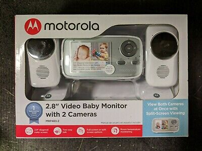 "Motorola 2.8"" 2-Camera Video Baby Monitor MBP483-2 White BRAND NEW"