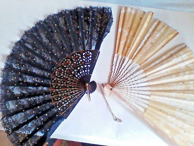 Ladies Fans - Black Lace n a Flowered Paper - Black Lace Fans
