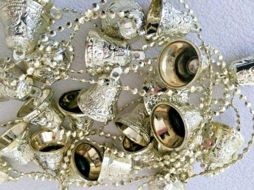 Vintage Plastic Embossed FILIGREE Christmas Bell Garland/STRING   Gold & SILVER