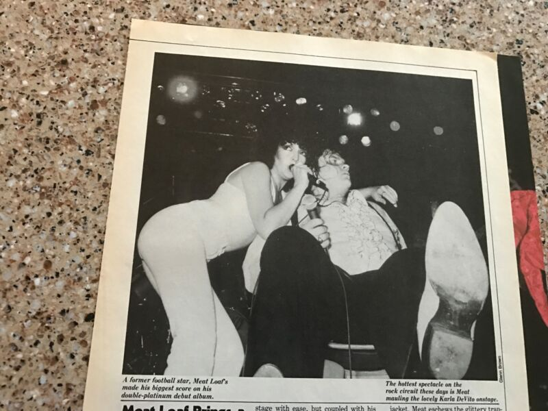 1978 VINTAGE 2PG MAGAZINE PRINT ARTICLE CLIPPING ON MEAT LOAF AND KARLA DeVITO