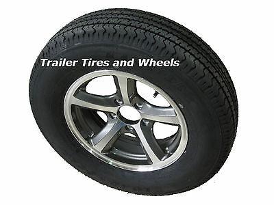 """BGK 205/75R14 LRD 8 PR Radial Trailer Tire on 14"""" 5 Lug Aluminum Trailer Wheel"""