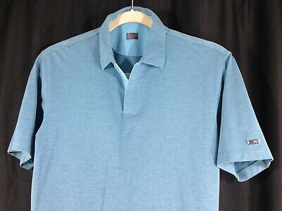 Tiger Woods Nike Mens Short Sleeve 1/4 Zip Polo Golf Shirt Turquoise Heather M