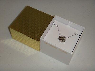 Michael Kors Women's MK Monogram Silver Tone Necklace Crystals MKJ5371040 + BOX