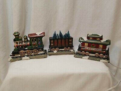 St Nicholas Square Train Set of 3 in Box Ceramic Village Lighted Hand Painted