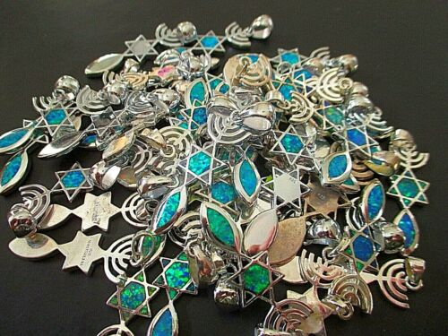 5 PCS 925 Silver Messianic Seal Pendant Necklace Blue Opal Jewelry, Blessed #88