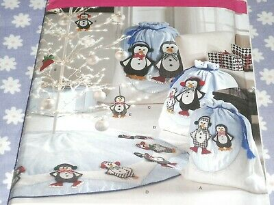 SIMPLICITY 3540 CRAFTS CHRISTMAS PENGUINS SKIRT BAGS & ORNAMENTS PATTERN-UNCUT ()