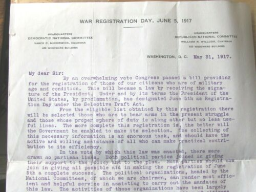 1917 BOOK WW I SELECTIVE SERVICE REGULATION , LOCAL DRAFT MILITARY SERVICE
