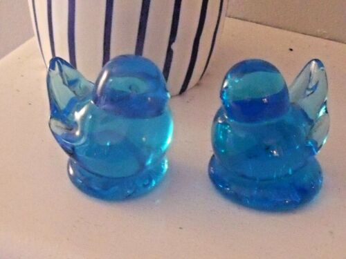 """VINTAGE Set 2 Signed 1988 Small BLUEBIRD OF HAPPINESS Figurines Leo Ward 2"""" H"""