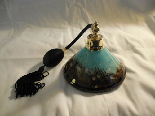 Lovely blue brown speckled art glass large perfume atomizer