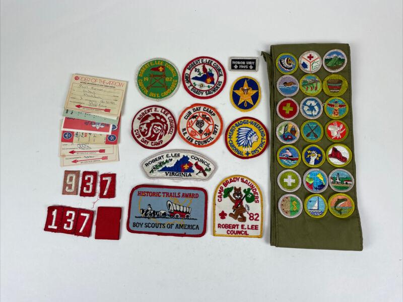 Lot 1980's Boy Scout Robert E. Lee Council, Merit Sash, Patches, Order O/T Arrow