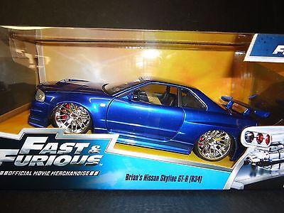 Jada Nissan Skyline GT-R R34 Brian's Blue Fast and Furious 1/24 97173