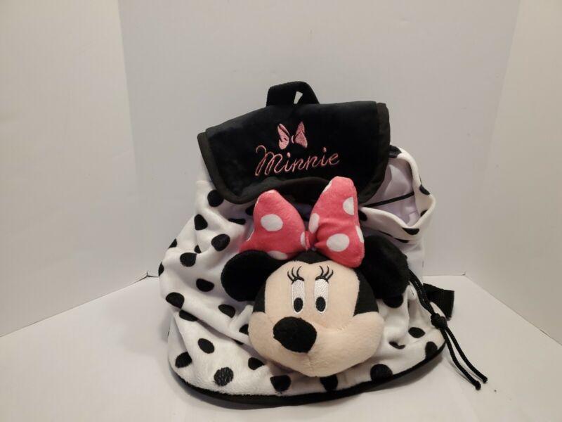 Disney Minnie Mouse Plush White Black Polka Dot Plush Toddler  Backpack