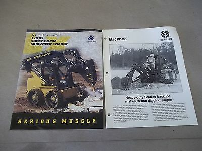 Ford New Holland Lx985 Super Boom Skid Steer Sales Brochure Plus Backhoe Sheet