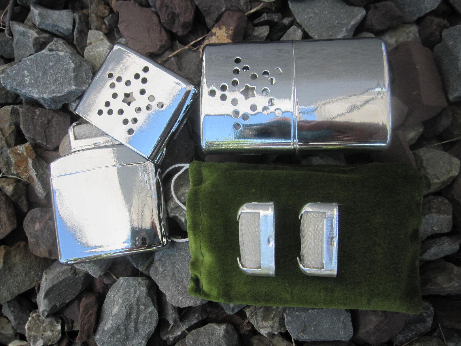 2 x Taschenwärmer + 2 x Ersatzbrennkopf Handwärmer Outdoor Taschenofen Benzin