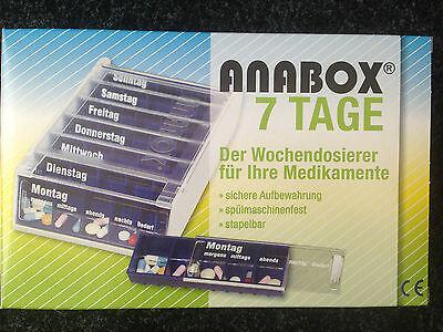 Anabox  7 Tage blau Wochendosierer Medikamentenbox Pillenbox 5 Fächer