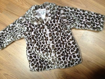 BABY PINK CHEETAH LEOPARD Faux Fur Coat FUZZY Jacket SATIN LINED Le Top 12 month (Toddler Pink Satin Jacket)