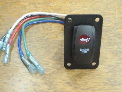 ENGINE TRIM TILT SWITCH V8D1A60B PSC11B BLK RED LENS LIGHTED WIRED