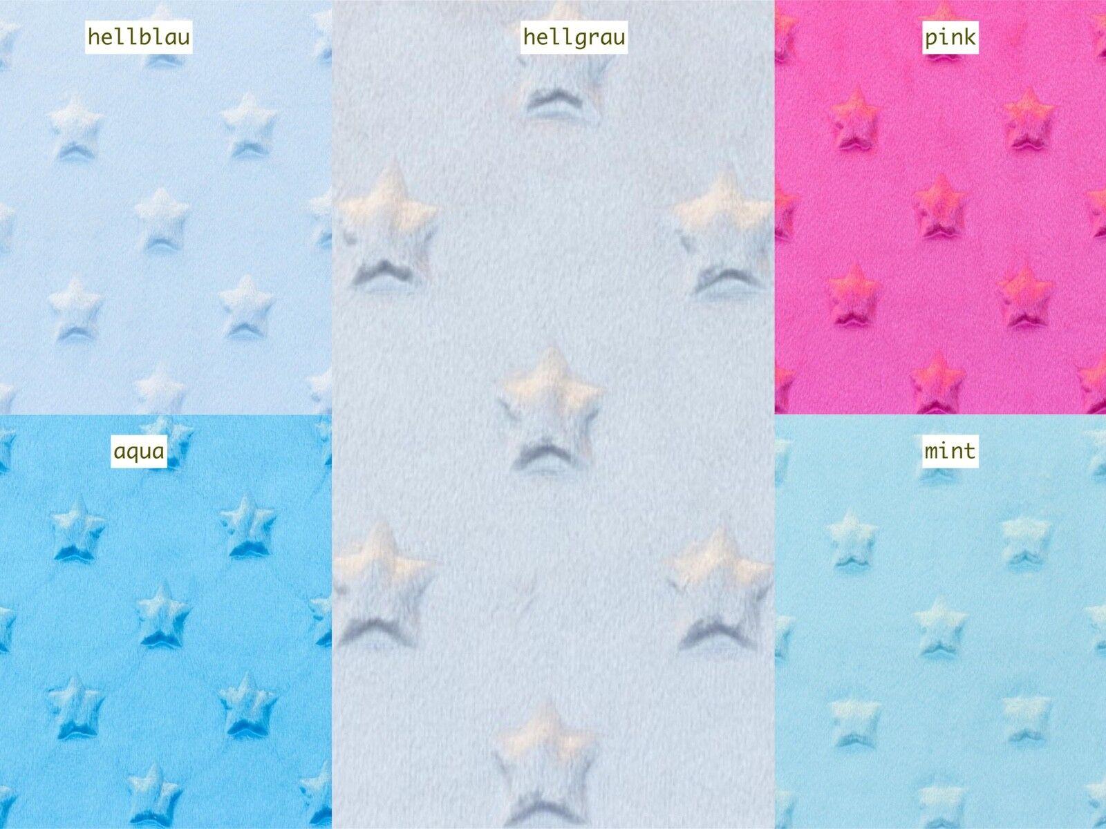 Minky Fleece Sterne Microfleece Stoff 5 Farben Breite 165 cm ab 50 cm