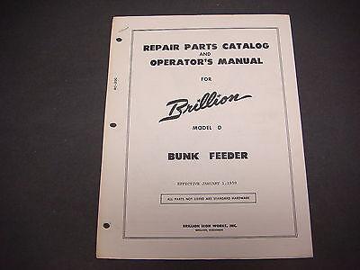 1959 Brillion Iron Works Bunk Feeder Model D Parts Catalog Operator Manual M4210