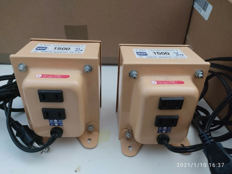 2 set of NISSYO NDF-1500U Voltage Converter 110V-120V to 100V 1500W transformer