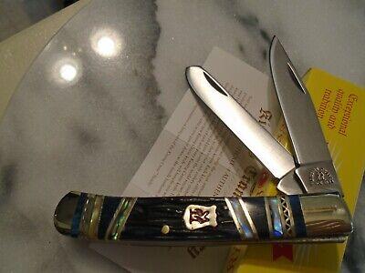 Kissing Crane Blue Ridge Abalone Bone Trapper Pocket Knife 4.1