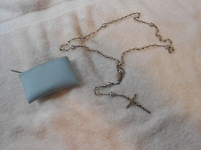 OLD VINTAGE STERLING SILVER RELIGIOUS CRUCIFIX CROSS MEDAL GLASS BEADS w/POUCH