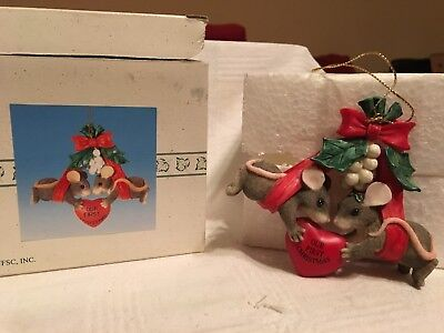 """Charming Tails """"OUR FIRST CHRISTMAS"""" FITZ & FLOYD CHRISTMAS ORNAMENT"""