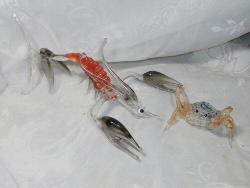 VINTAGE ART GLASS LARGE LOBSTER & SMALL CRAB SEA LIFE MARINE LIFE FIGURINES