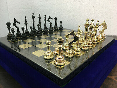 Collectible 100% Brass Vintage Chess board game set 12