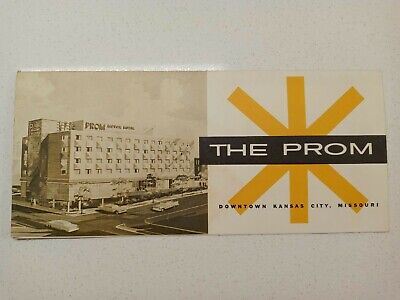 The Prom Motor Hotel Kansas City Brochure 1950's - 60's Mid Century Artwork