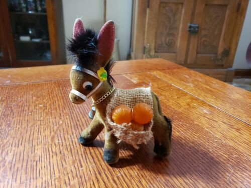 Vintage Flocked Donkey With Basket Carrying Fruit Figurine Oranges
