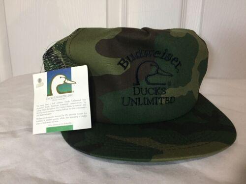 VTG NEW K Products Budweiser Ducks Unlimited Green Brown Camo Trucker Hat - USA