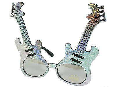 Electric Guitar Frame Rock Star Novelty Sunglasses Party Glasses Silver - Guitar Sunglasses