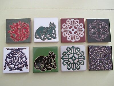 CELTIC CERAMIC TILE LOT OF 8 HAND PAINTED KILN FIRED MULTIPLE DESIGNS COLORS -