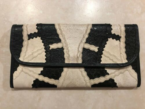 Vintage Carlos Falchi Patchwork Leather Clutch Purse Black & White 80s 90s USA