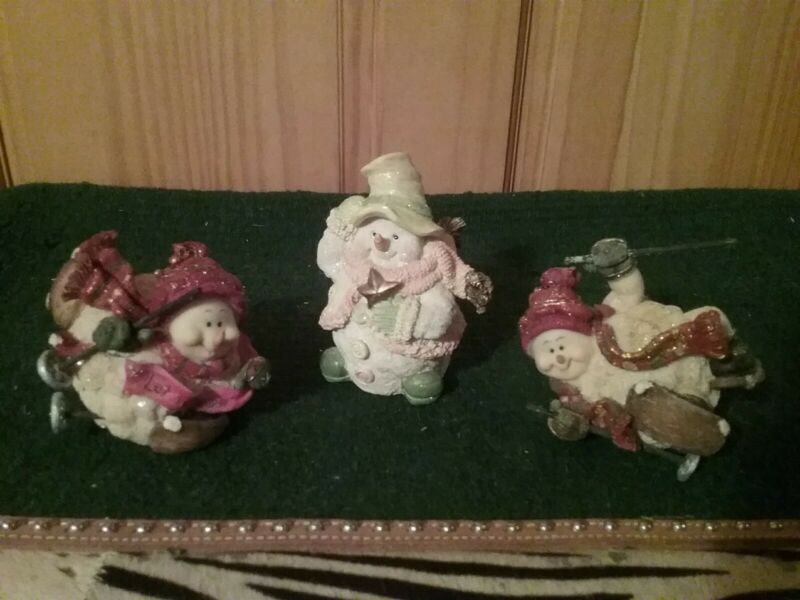 Vintage Snowman Skiers With One Standing Snowman Excellent Condition