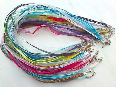 Organzakette Halskette 5-reihig 42-46cm Halsband Kordel Trachtenschmuck Farbwahl