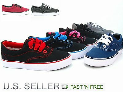 Kids Unisex Boy & Girl Lace Up Canvas Athletic Sneakers Vulcanized Rubber Skate