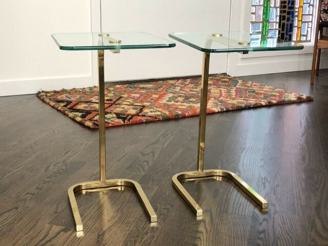 Pair Of 20 Century Modern Pace Collection Brass And Glass Side Table