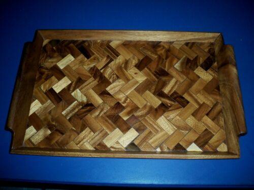 "Beautiful Inlayed Monkey Pod Wood Large Serving Tray Hawaii Handles 19 1/2"""