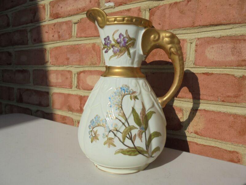 """Antique Royal Worcester Porcelain Lg Elephant Handle Pitcher 9 1/4"""" Floral Gold"""