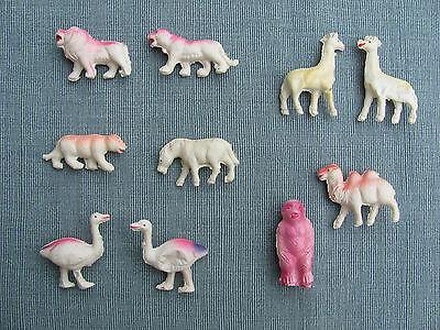 10 seltene alte Zelluloidtiere  - aus der Zeit vor 1950  -  Zootiere  Spieltiere ()