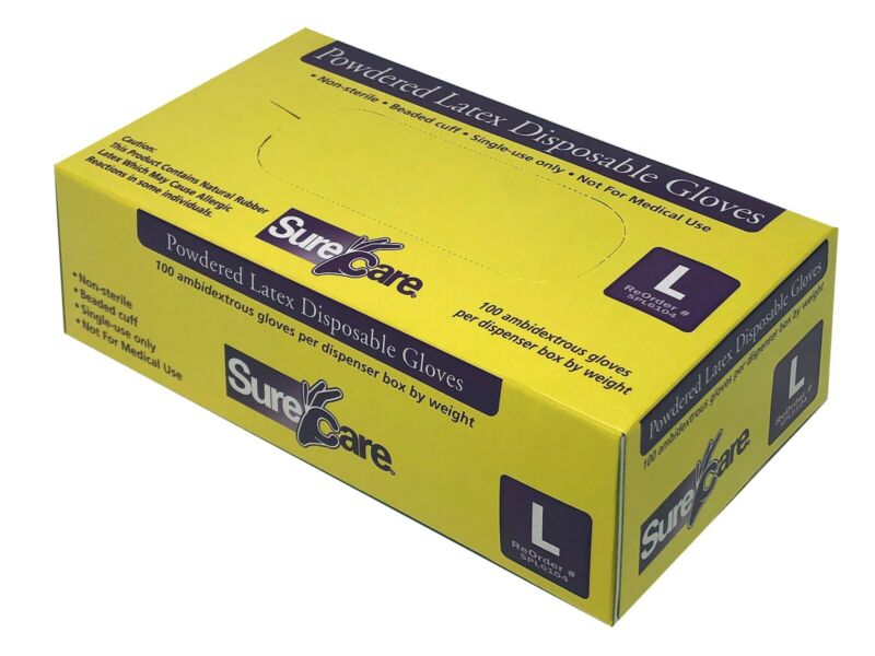 SureCare Latex Gloves Fast Shipping In Stock USA FREE SHIPPING Small or Medium