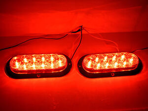 2-TWO-6-Oval-Red-Flange-Surface-Mount-Stop-Turn-Tail-10-LED-Trailer-Light