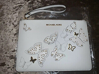 MICHAEL KORS Ciara Butterflies White Leather Clutch *BRAND NEW & QUICK (Michael Kors Delivery)