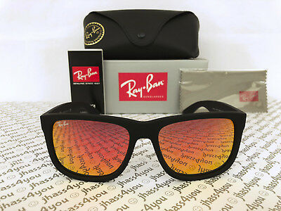 Ray-Ban Justin RB4165 622/6Q Wayfarer Sunglasses/Matte Black/Red Mirror (Red Wayfarer Sunglasses)