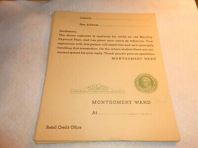 VINTAGE Montgomery Ward Credit application 1 cent postcard -new