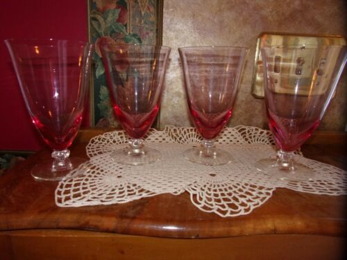 4 Tiffin Franciscan Wistaria Wisteria Pink Iced Tea Glasses Crystal Stem