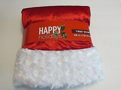 "NEW HAPPY HOLIDAYS PLUSH CHRISTMAS TREE SKIRT RED W/WHITE TRIM 48"" DIAMETER"